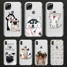 Funny cute cat dog Animal Phone Case For iPhone