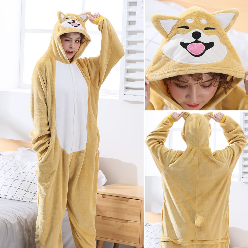Flannel Adult Cartoon Animal Anime Corgi Dog  Jumpsuits Pajama Lovely Cosplay Lovers Costume Home Sleepwear