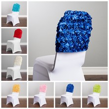 Nice Looking Satin Rosette Chair Cap Hood Fit For Lycra Spandex Chair Cover Event Party Hotel Decoration(China)