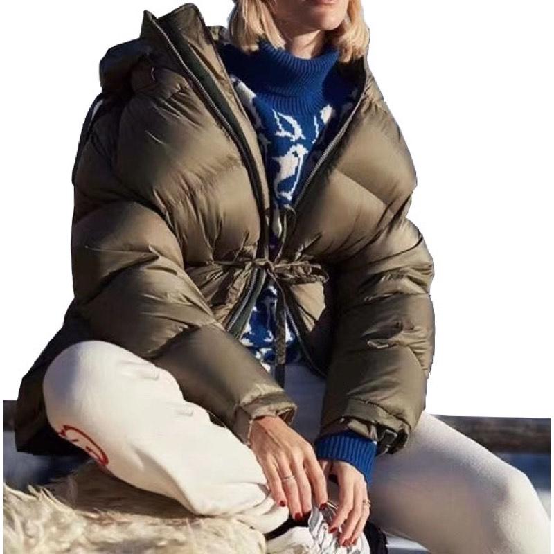 Роскошный брендовый зеленый пуховик с поясом, женский зимний пуховик 2019, повседневное плотное шерстяное пальто с капюшоном на утином пуху
