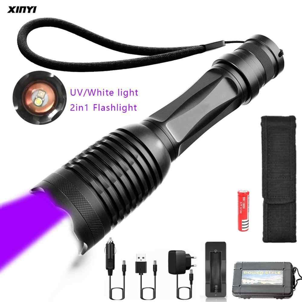 10000LM 2in1 UV + LED de luz branca Lanterna Tocha 395nm Ultravioleta Detector De Urina para camping Tapete de Urina Animal de Estimação Pegar Escorpiões