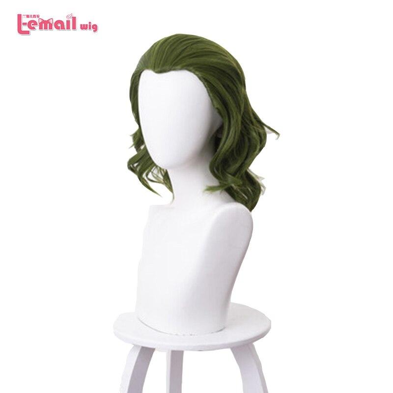 L-e-mail peruca de Palhaço Palhaço Cosplay Dia Das Bruxas Perucas de Arthur Mancha Homens Peruca Cosplay Verde Curly Peruca Sintética Resistente Ao Calor peruca de cabelo