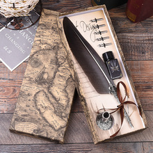 1Set Calligraphy Turkey Feather Dip with 5 Nib Gift Quill Pen Writing Ink Set Gift Box Wedding Fountain Pen Decoration все цены