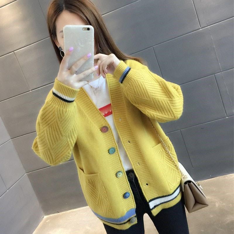 Fashion Dressed Dresses 2019 Restore Warm Trui Women V -neck Long Mouwen Vest Button Pocket Used Tops