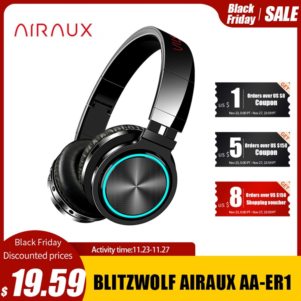 BlitzWolf AIRAUX bluetooth Wireless Headphones HiFi Stereo Music Headset RGB Light HD Call TF Card Earphone for PC Computer