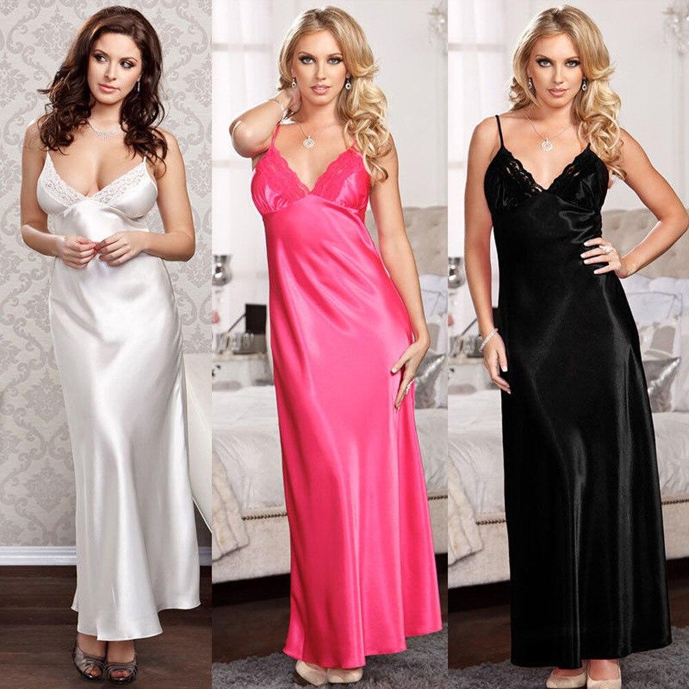 Длинное ночное платье, женская одежда для сна, шелковый халат с V-образным вырезом, нижнее белье, ночная рубашка, кружевные халаты, женское ба...