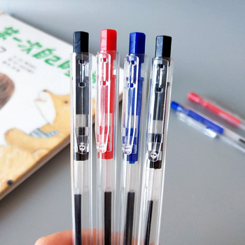 1 pcs creative stationery side jump simple transparent press blue ballpoint pen Can wholesale The new Arrivals listing Hot Sale image