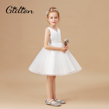2020 Formal Flower Dress Kids Clothes For Girls Children Retro Lace Princess Dress Girl Party Wedding Dress Elegant Party Dress gorgeous children girls black grey birthday celebration evening party flower princess lace dress kids model catwalk host dress