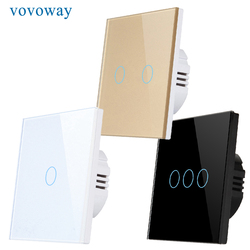 Vovoway настенный светильник переключатель закаленное стекло панель пожаробезопасный материал ЕС стандартный 110V-240V 1/2/3 прерыватель сенсорный...