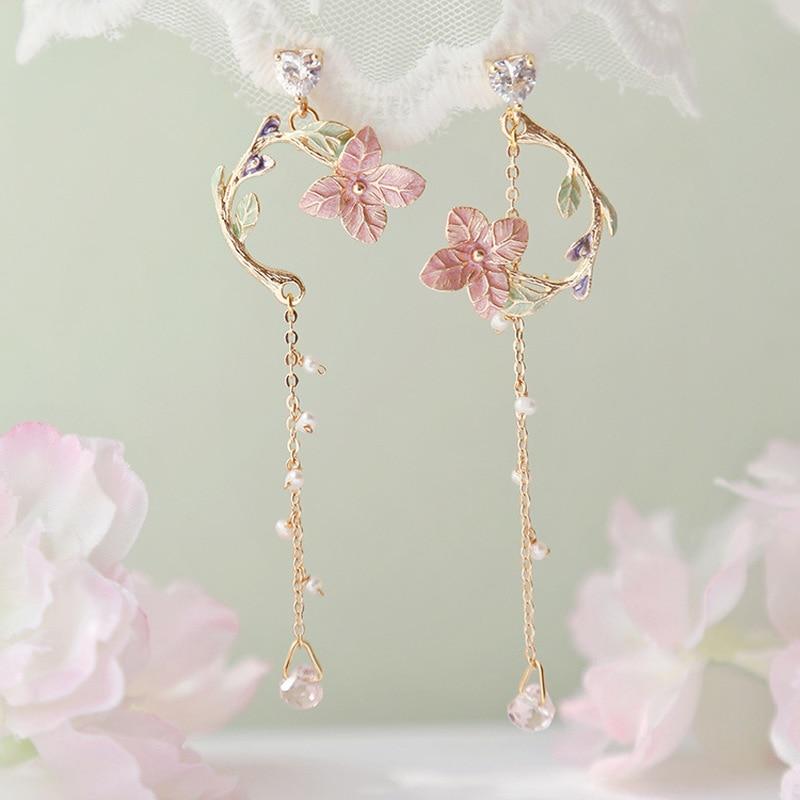 MWSONYA 2020 New Korean Pink Flowers Leaves Pendant Earrings Flower Tassel Earrings for Women Drop Earrings Jewelry Earrings