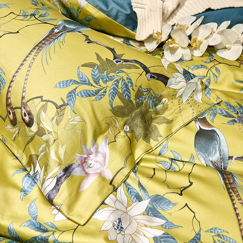 King Size 4Pcs Bedding Set 1 G/én/érique Silky Egyptian Cotton Style Birds Flowers Duvet Cover Fitted Sheet Style