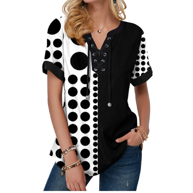 New Summer Women Blouses 3D Print Tie Dye Gradient Tops Casual Short Sleeve V-Neck Lace Up Oversize Shirt 5XL Loose Tops 11