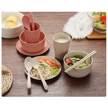 Family Restaurant Baby and Children Tableware Wheat Straw Home Cooking Simple Salad Plate Meat Bowl 6 Pieces