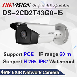HIK New Video Surveillance Camera outdoor DS-2CD2T43G0-I5 4MP IR 50M Bullet POE IP Camera H.265+ Replace DS-2CD2T42WD-I5