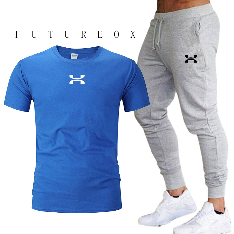 2020 men's summer sports suit sweatshirt pants running suit clothes sports jogging training fitness jogging high quality leisure