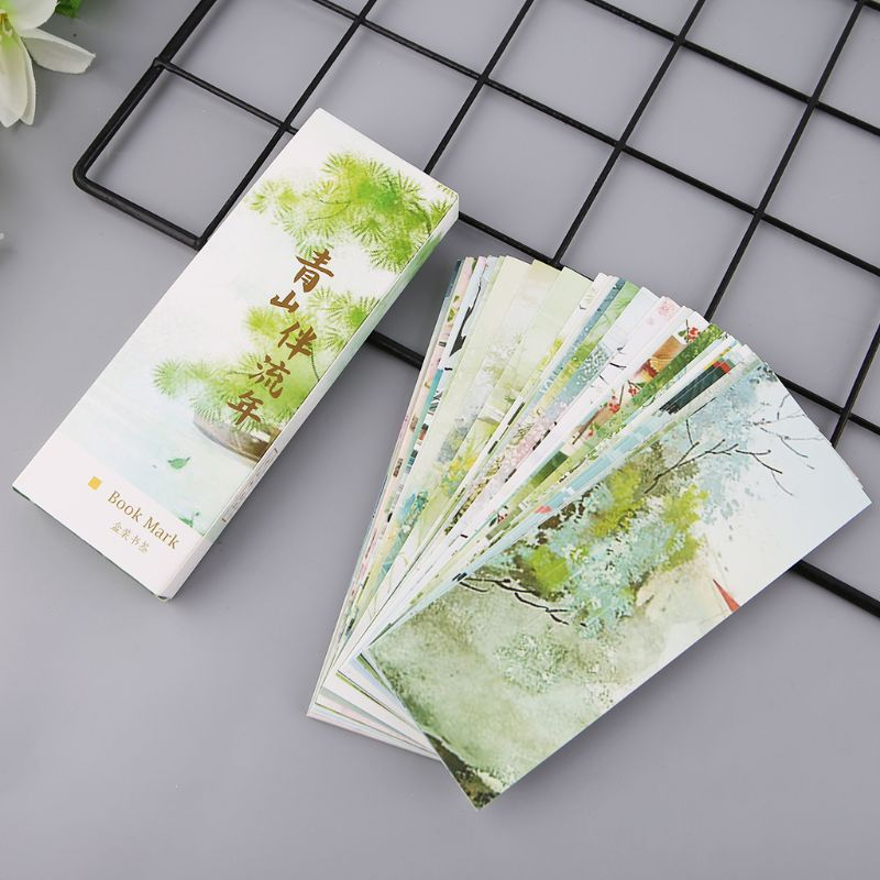 30pcs Chinese Style Paper Bookmarks Mountain And Fleeting Time Painting Cards Retro Beautiful Boxed Bookmark Commemorative Gifts