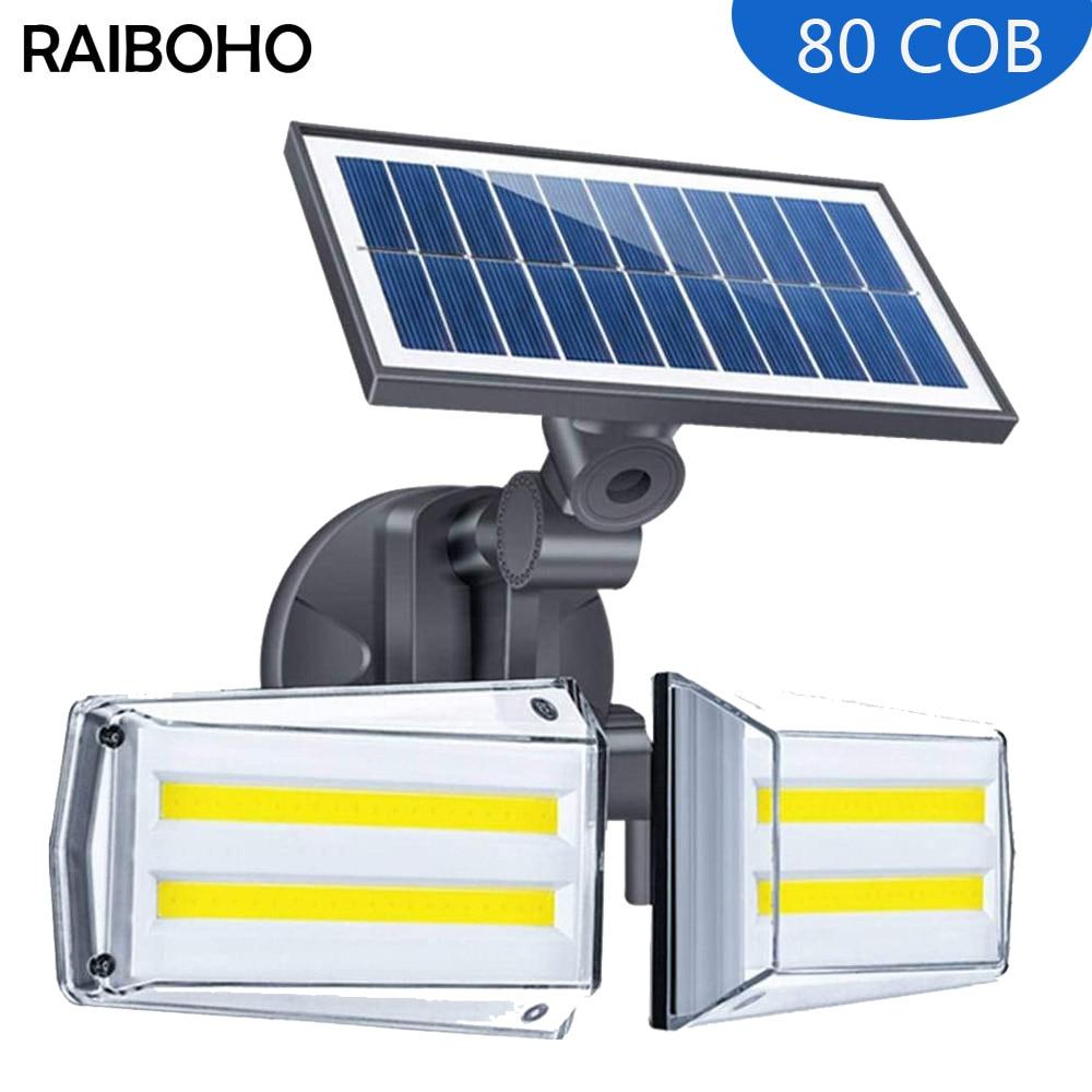 80/42 LED Solar Lights Outdoor Motion Sensor Solar Wall Lamp IP65 Waterproof Double Head LED Spotlight for Patio Garden
