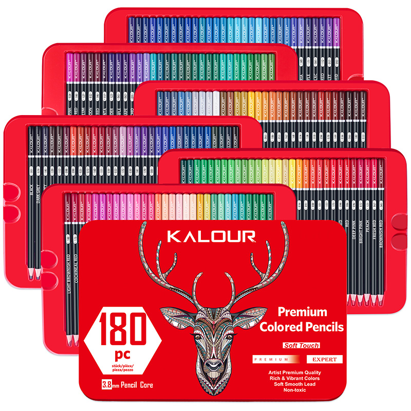 180 Colors Colouring Pencils Oil Based Assorted Colours Art Pencils 3.8 mm Lead Core Tin Box set for Artists Kids Colouring Gift