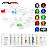 100 Uds 3mm luz LED para destellear lámpara de diodo emisor bombilla RGB blanco rojo azul verde amarillo 2V 3V Color parpadeo indicador