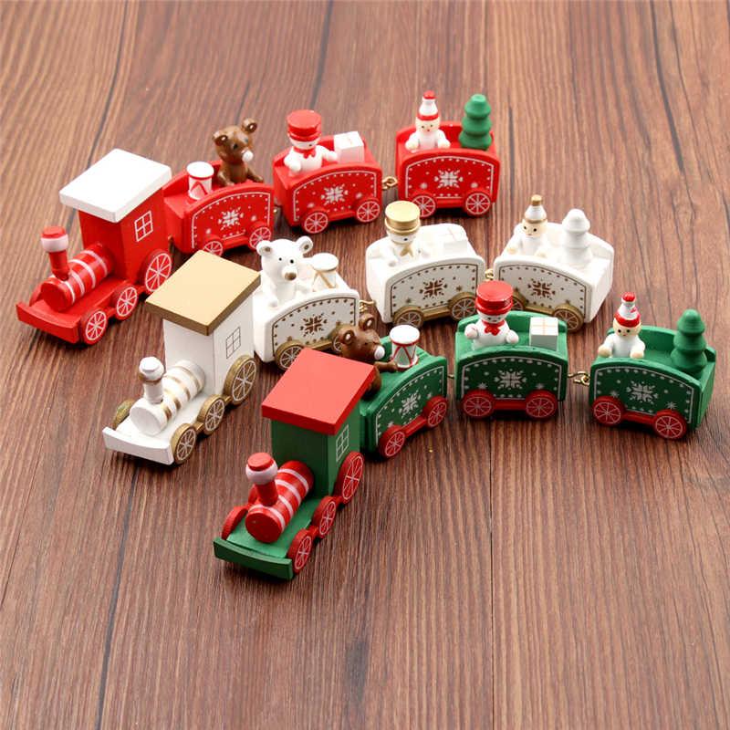 Nuovo Treno di Natale In Legno Dipinto Di Natale Decorazione per la Casa con il Babbo/orso di Natale giocattoli del capretto regalo di natale navidad nuovo anno del Regalo