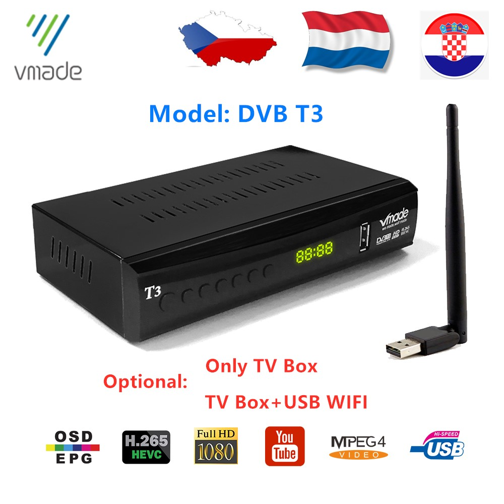 Vmade Newest DVB T3 Terrestrial TV Receiver Tuner For Netherlands H.265 1080p Support YouTube HD Have Sound DVB T3 Set Top Box
