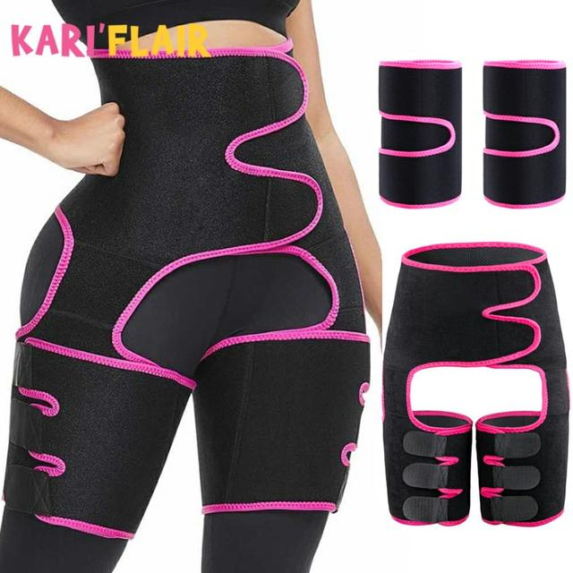 Tactical Waist Trainer 3-in-1 Thigh Trimmers with Butt Lifter Body Shaper Arm Belt For Waist Support Sport Workout Sweat Bands