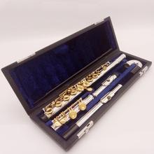 DeXin профессиональная флейта Посеребренная флейта золотой ключ инструмент промежуточный студенческий изогнутый головной сустав флейты 16 отверстие закрыть