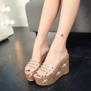 Image 3 - Lucyever Women Sandals Rivets Transparent Peep Toe High Heels Sandals Fashion Ladies Glitter Platform Wedges Summer Slides