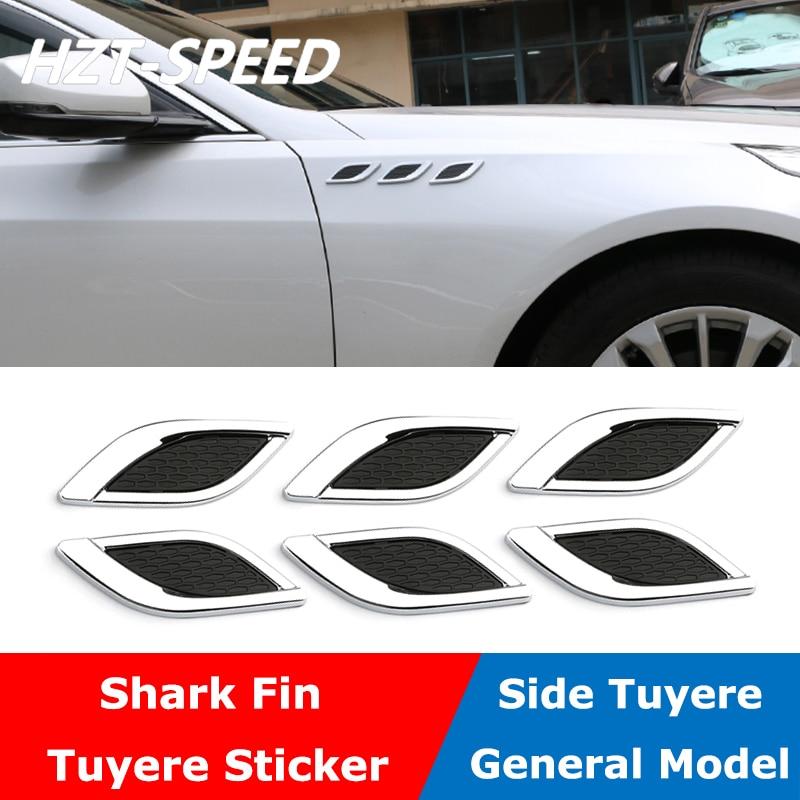 2PCS Chrome Air Flow Intake Exterior Vent Fender Side Decor Sticker Universal