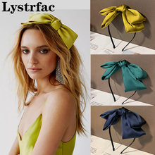 Lystrfac New Chiffon Big Bow Headband for Women Solid Color Hairband Double Layer Bow Girls Headdress Hair Accessories