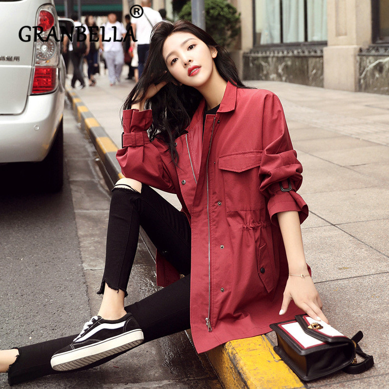 Windbreaker Female Korean Chic Waist Loose Outfit Solid Color Elegant Long Skirt Coat Streetwear Sweet   Trench   Coat