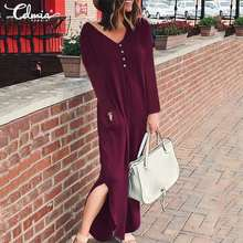 Women Celmia Casual Sexy V-Neck Solid Pockets Long Maxi Dress Plus Size Loose Sleeve Split Femme Robe Vestidos Mujer
