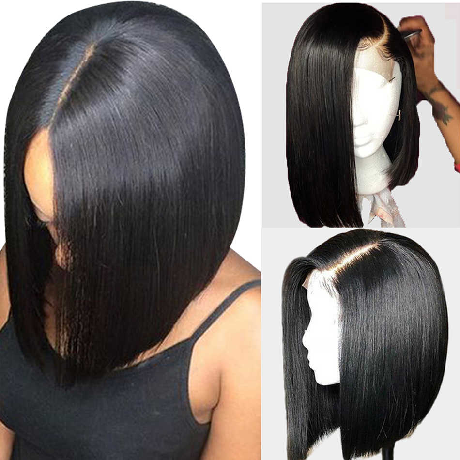 4x4 Lace Closure Wig Indian Straight Machine Made Bob Wigs Remy Human Hair Wig Short Bob Wig Bleached Knot For Black Women
