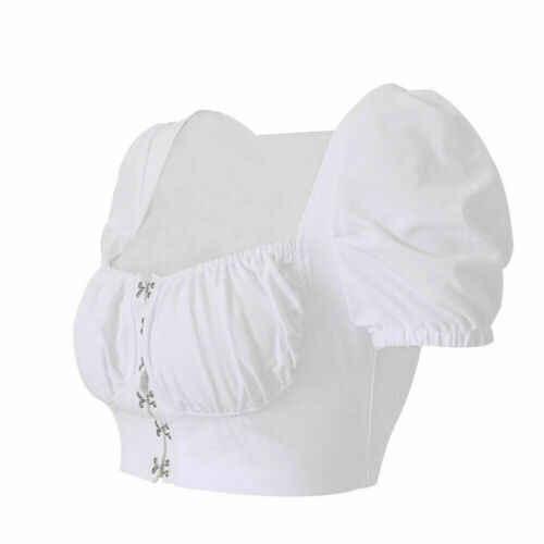 2019 المرأة مثير ساحة الرقبة المحاصيل تي شيرت نسائي بأكمام قصيرة الصدرية الصيف عادية قصيرة بلايز تانك الأعلى ملابس امرأة بلون S-XL