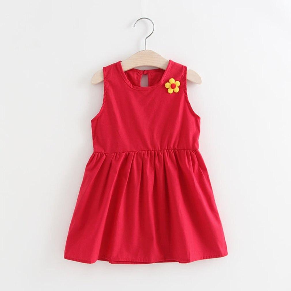 Baby Girls Flower Skirt Sleeveless Cotton Dress Summer Sundress Baby Girls Casual Dress Children Clothes