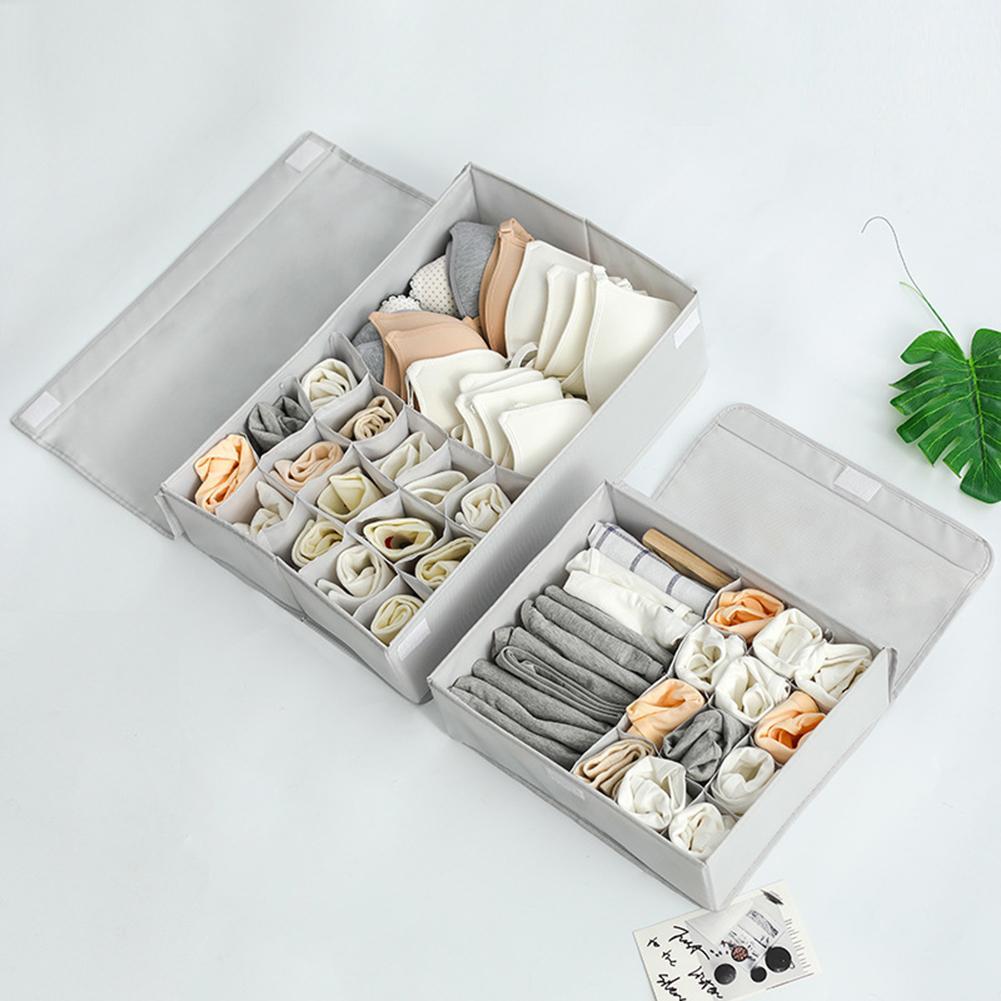 Waschbar Oxford Tuch Container Unterwäsche Socken Schlafsaal Lagerung Box mit Deckel mit Deckel, Multi Grids, Lagerung Behälter, oxford