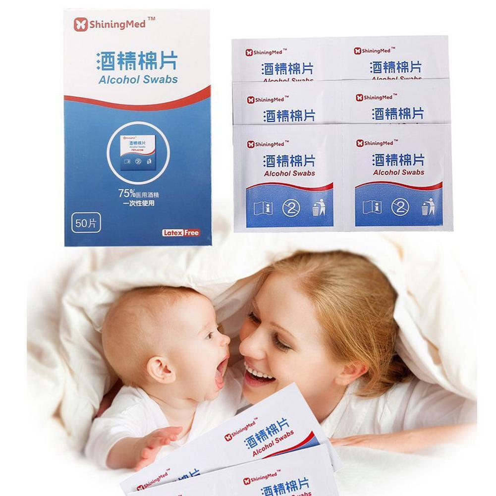 50Pcs/Box Professional Alcohol Swabs Pads Wet Wipes Alcohol 75% Skin Sterilization Home Piece Sterilized Cleanser A2G9