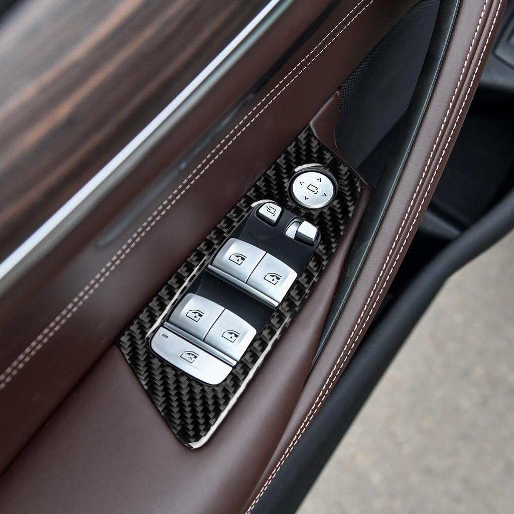炭素繊維車の窓リフター制御アームレストパネルウィンドウスイッチステッカーデコレーション bmw 528i 530i G30 G38 5 シリーズ 2018