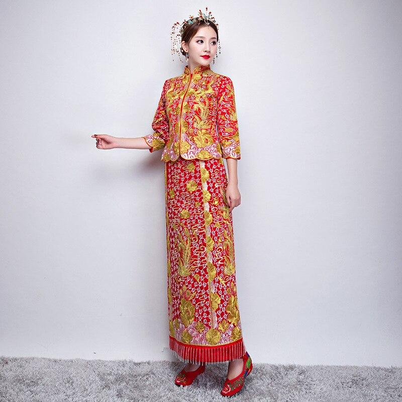 Col Mandarin asiatique traditionnel robe de mariée femmes rouge Floral trois quarts manches broderie Cheongsam Long gland Qipao