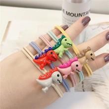 5Pcs Korean Ins Headbands Elastic Hair Bands Cute Dinosaur Accessories for Female Girls Colorful Rope Gum Rubber Band