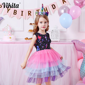 VIKITA Unicorn Dress for Girls Party Casual Costumes Baby Girl Summer Clothing Kids Princess Tutu Dresses Girls Cartoon Clothes summer brand 2020 kids dresses for girls casual wear frill sleeve girl dress children boutique clothing tutu baby girls clothes