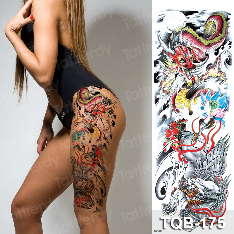 Large Temporary Tattoos For Women Leg Tattoo Phoenix Dragon Fish Rose Peony Flower Legging Tatoo Fake Waterpoof Full Arm Tatoo