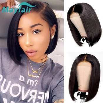 Lace Front Human Hair Wigs Remy 13x4 Lace Front Wigs For Black Women Short Bob Wigs 150% Brazilian Straight Human Hair Wigs цена 2017