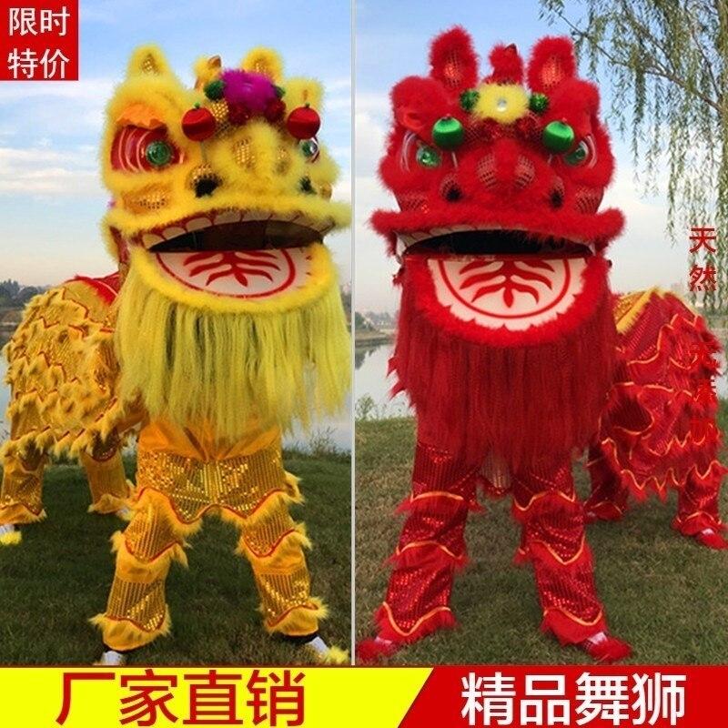 Рекламный танцевальный костюм льва оборудование голова танца льва двойной взрослый талисман костюм Южный Лев танцевальная одежда нарядно