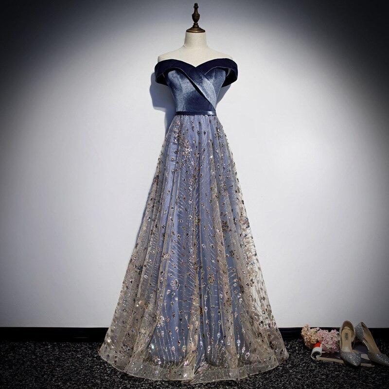 Elegant Velvet Long Prom Evening Dresses Sequin Formal Party Gown Off The Shoulder Pageant Dress 2019 New Vestido