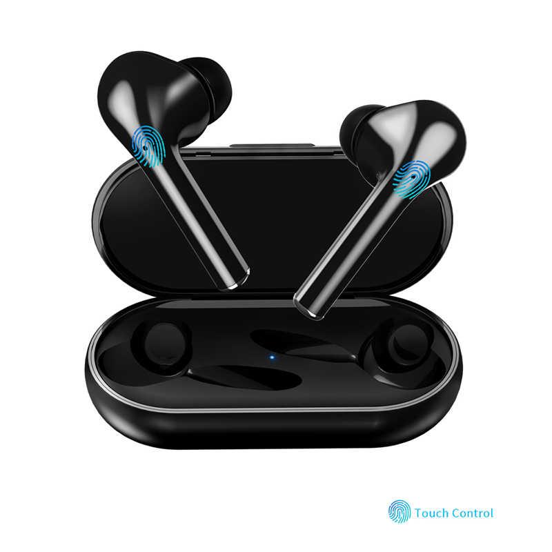 TWS prawdziwe bezprzewodowe podwójne słuchawki douszne Bluetooth dotykowy zestaw słuchawkowy słuchawki Bass dźwięk słuchawki dla Huawei Xiaomi Iphone Samsung