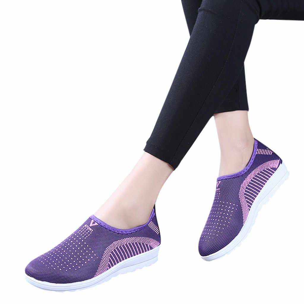 Zapatos planos de malla para mujer, zapatos informales de algodón, de retazos, para mujer, zapatillas a rayas, mocasines, zapatos suaves zapato
