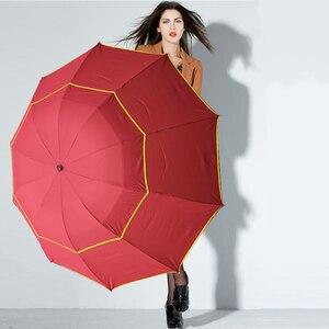Image 1 - Automatic folding umbrella men rain quality windproof uv large paraguas male stripe parapluie 4 colors recommend