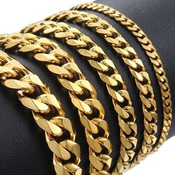 3-11mm Stainless Steel polished Bracelet for Men Curb Chain Cuban Link Men's Bracelet Black Gold Silver Color Jewelry DKBM158 3 11mm men s bracelets stainless steel curb cuban link chain silver color black gold bracelet men women jewelry gift 7 10 kbm03