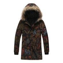 Chaquetas de hombre nuevo estilo de invierno Vintage con estampado Floral con capucha chaqueta con cremallera cuello de pelo Delgado bolsillo largo abrigo prendas de vestir abrigo L30107
